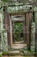 Twisted stone doorways in Banteay Kdei temple