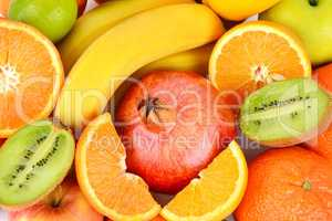Background of Set fruits . Healthy food. top view.