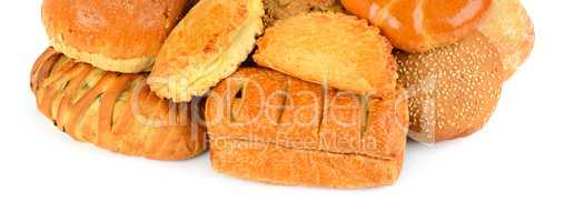 Bread and bakery products isolated on white background. Wide pho