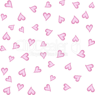 Watercolor hearts seamless background. Pink watercolor heart pattern. Colorful watercolor romantic texture. - Vector illustration