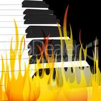Piano in flames abstract flowing flame background original vector Illustration