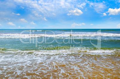 Beautiful seascape and blue sky. Sri Lanka.