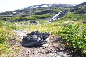 Shoes On Trekking Path In Norway, Beautiful Wilderness Scenery