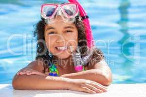 African American Biracial Girl Child In Swimming Pool