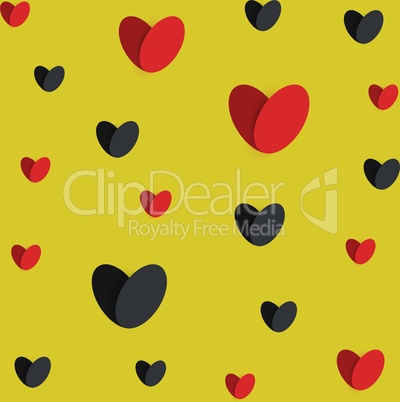 red black hearts yellow seamless texture