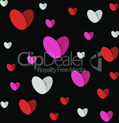 white red pink hearts dark seamless texture