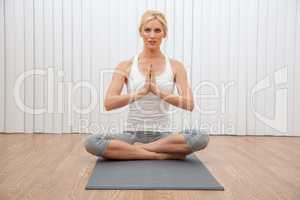Young Female Woman Practicing Seated Yoga Position