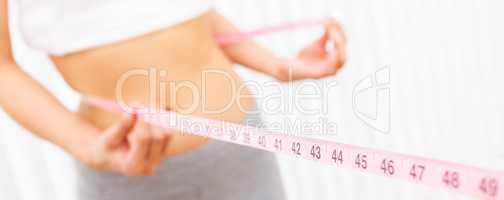 Woman Female Girl Measuring Waist With Tape Measure Panorama