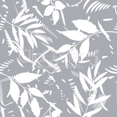 Floral seamless pattern with abstract shaped and leaves. Artistic drawn background