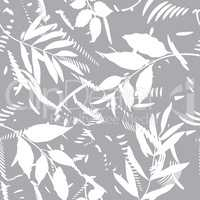 Floral seamless pattern with abstract shapes and leaves.