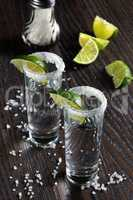 Tequila tall shot glasses  with lime