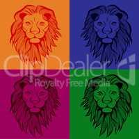 Lion head vector animal illustration for t-shirt. Sketch seamless tattoo design.