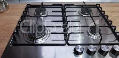 Gas stove with burner close-up
