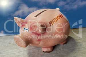 Piggy bank, good luck pig with lettering Pension