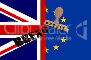 Flag of Great Britain and UN with stamp and imprint Brexit
