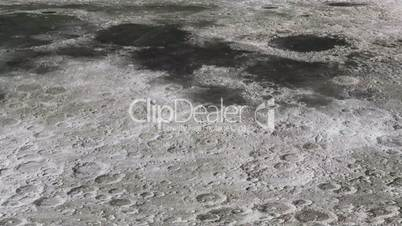 The travel of the camera on the surface of the moon in high quality.Space background