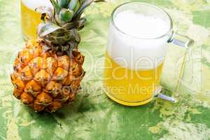 Glass with pineapple ale
