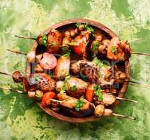 Grilled shish kebab on skewers