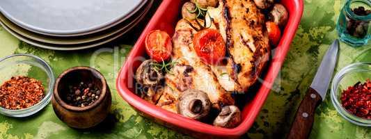 Chicken breasts in baking dish