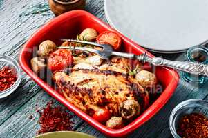 Grilled chicken in baking dish