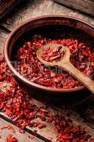 Heap of red pepper flakes