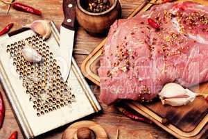 Raw fresh meat on wooden background