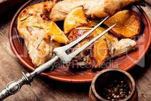 Roast chicken with orange