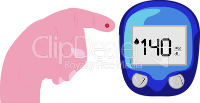 Blood test for glucose level. Vector illustration
