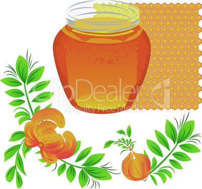 Honey. Summer vector illustration