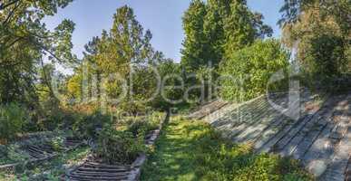 Cozy deserted corner of the old botanical garden