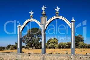 Entrance to the ethiopian orthdox christian Wukro Cherkos church, Ethiopia