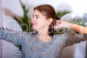 Woman with arm movement