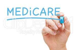 Word Medicare Handwritten With Blue Marker