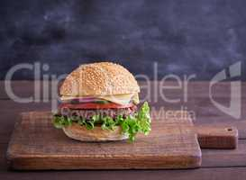 cheeseburger with meat patties and white sesame bun