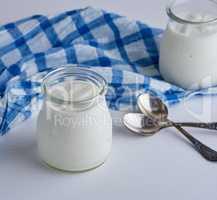 glass jars with homemade yogurt