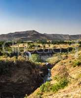 Landscape view near the Blue Nile falls, Tis-Isat in Ethiopia, Africa