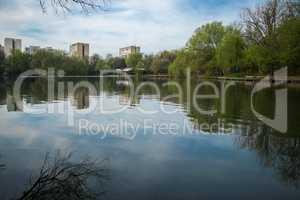 City urban lake morning