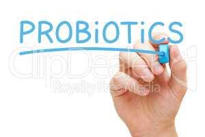 Word Probiotics Handwritten With Blue Marker
