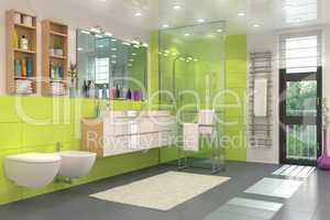 3d render of a modern bathroom