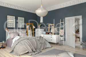 3d render - scandinavian - nordic bedroom