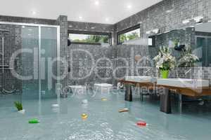 3d render - flooding modern bathroom bathroom