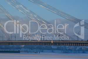 Suspension bridge in winter season, Riga.
