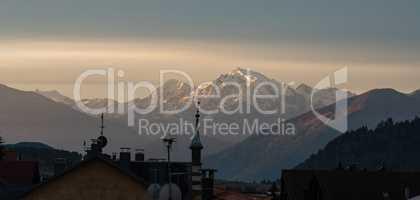 Moning scene of the Ortler peak on background. Italian Alps, Italy, Europe.