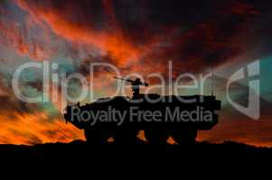American interim armored vehicle silhouette / 3d illustration