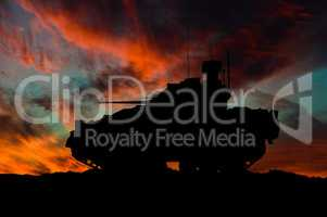 American infantry fighting vehicle silhouette / 3d illustration