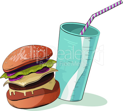 Junk food vector illustration. Icon colorful food.