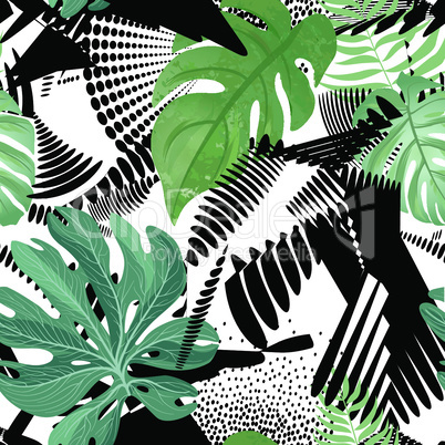 Floral seamless pattern. Tropical leaves over abstract painting art background. Flourish wallpaper