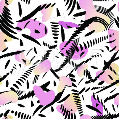 Abstract stylish modern texture with splatter. Artistic drawn background. Seamless pattern with abstract painted shapes.