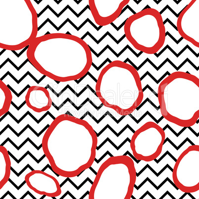 Abstact seamless pattern. Dotted line texture. Dot and zig-zag line ornament