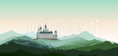 Castle Mountains Landscape. Travel Rural nature european background. Castle building on the hill skyline.